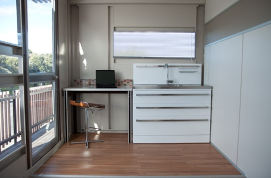 Interior of a prefab shipping container house