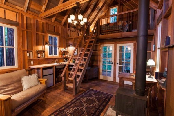 Tiny Owl Cabin Interior with Staircase to Loft