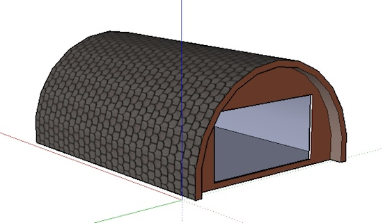Rear of Rounded A Frame Tiny House Design