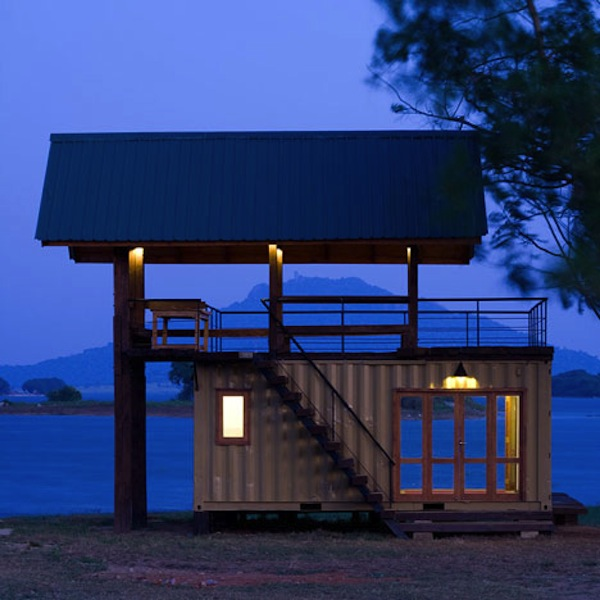 Shipping Container Turned Lakeside Cabin Retreat