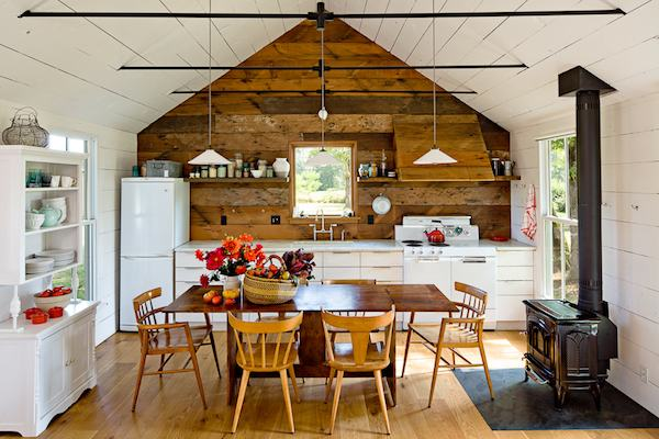 Simple Kitchen in this Tiny House Remodeled with Reclaimed Materials