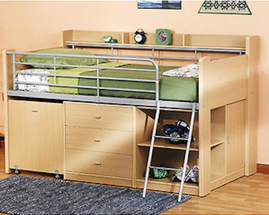 Small Space Furniture   Loft Bed With Storage And Desk Functionality