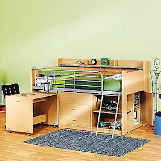 Small Space Furniture - Loft Bed with Desk and Storage