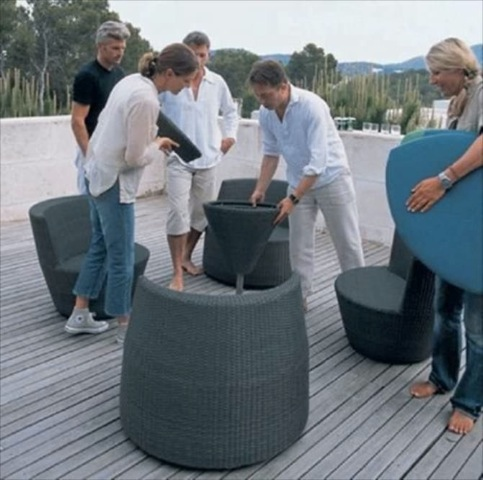 Stackable Patio Set for Small Outdoor Spaces Four Lounge Chairs and a Table that Stack into One