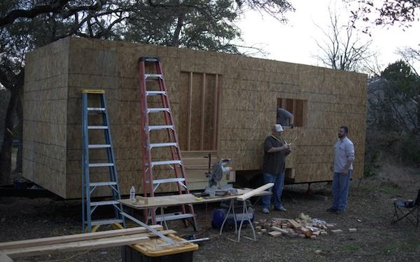 Sheathing installed on Steves tiny house thanks to his friends, he had flu
