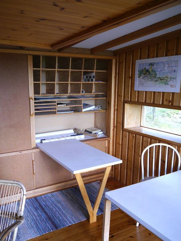 Desk folds into the cabinet, naturally…
