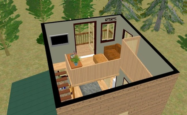 The Cozy Cube Tiny House With A Balcony From Cozy Home Plans