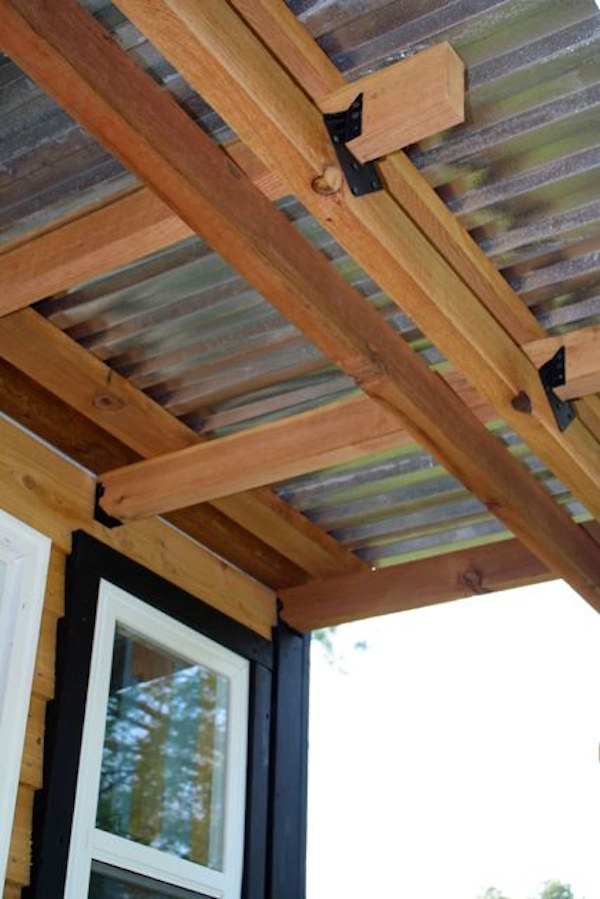 tiny house on wheels front porch ceiling