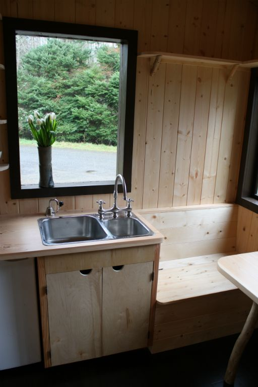 outside kitchen island corner nook table tony's caravan tiny house by hornby caravans