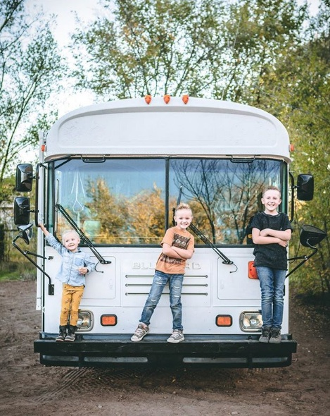 family of five living in their diy school bus conversion