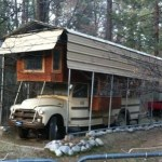 Truck or Bus House in the Woods