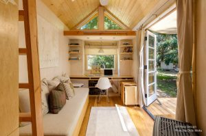 Woman Living Simply in Off Grid Tiny Home
