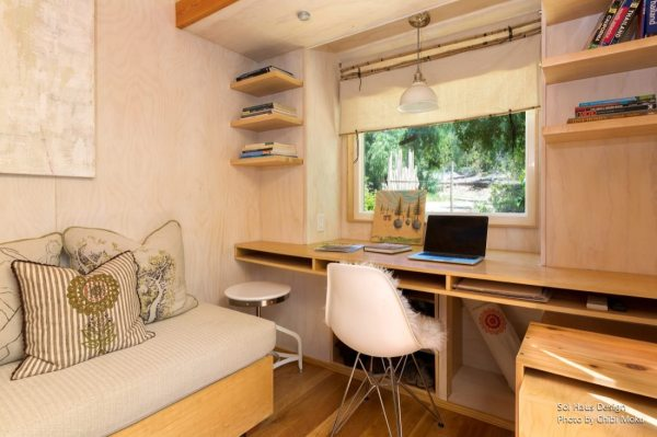 woman living simply in off grid tiny home on wheels. Black Bedroom Furniture Sets. Home Design Ideas