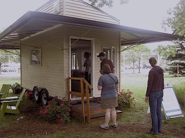 Visitors at Northwestern University's Tiny House