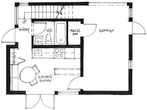 First Level Floor Plan of Westcoast Smallworks Studios Small House