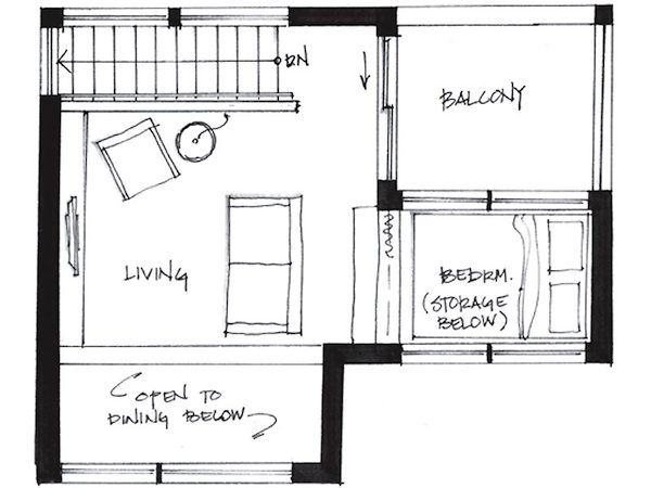 Second Level Floor Plan of Small House