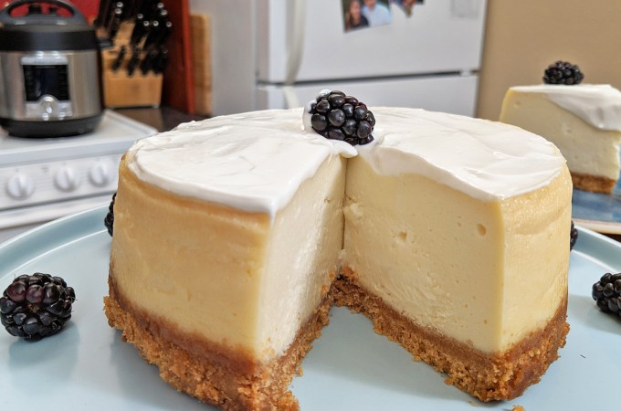 Instant Pot Cheesecake with slice of cake