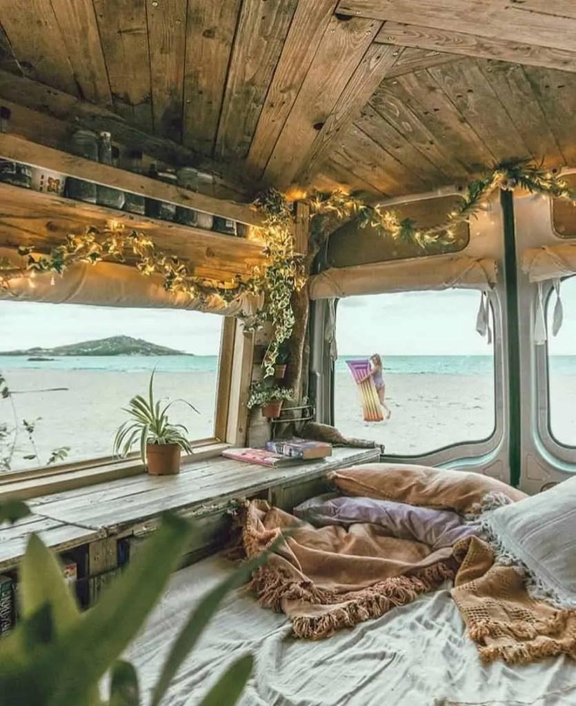 rustic van on Euro road trip