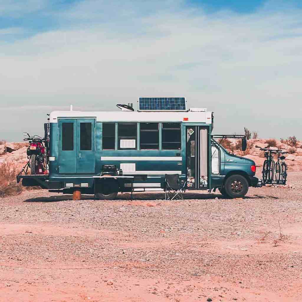 converted tiny house bus for outdoor adventure