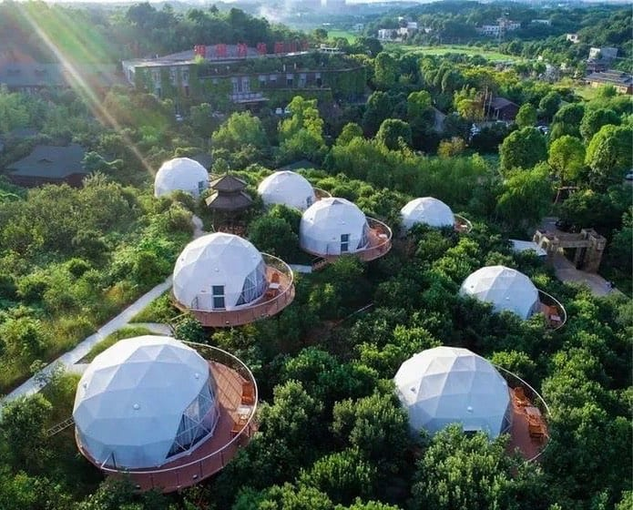 tiny house community geodesic domes