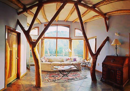 Earthship made with tree branches