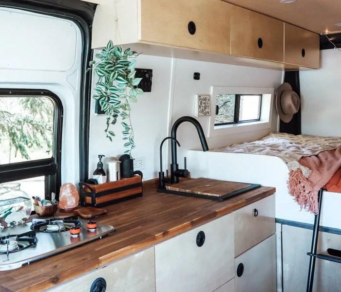 awesome campervan kitchen setup