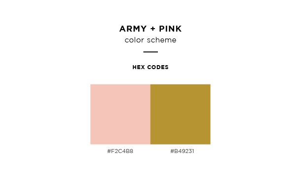 army and pink color scheme
