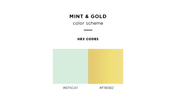 mint and gold color scheme