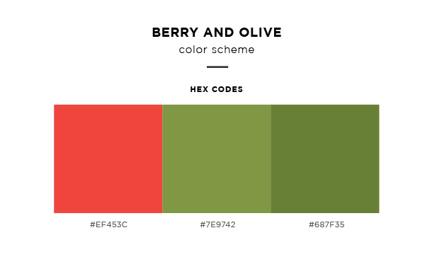berry and olive color scheme