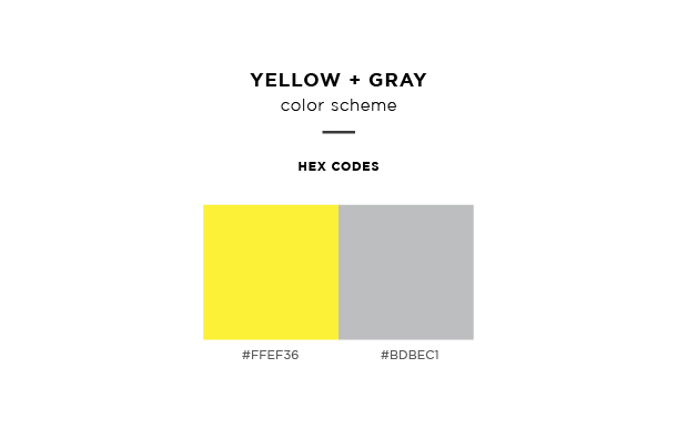yellow and gray color scheme