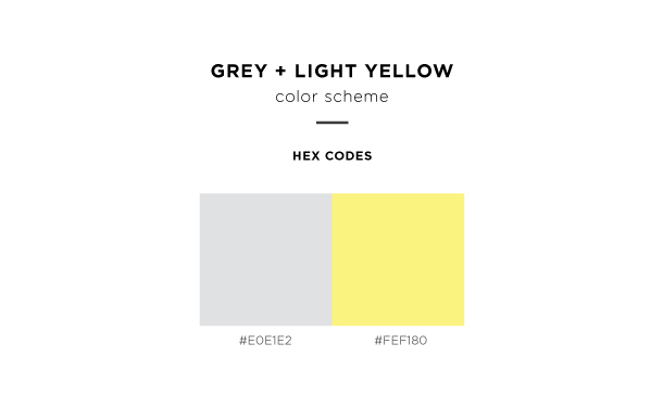 grey and light yellow color scheme