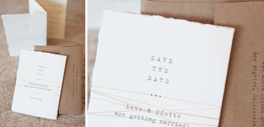 Custom Tri Fold Save The Date Letterpress With Thread Tie