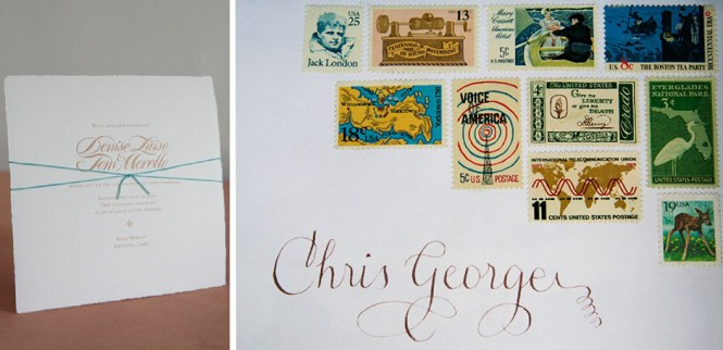 Vintage Stamps Wedding Invitation With Calligraphy Tiny