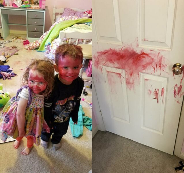 messy kids with lipstick