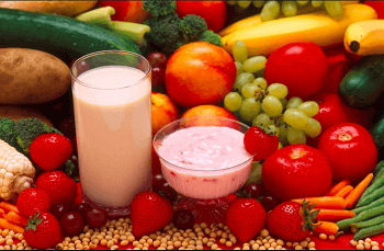 Image of milk and fruits