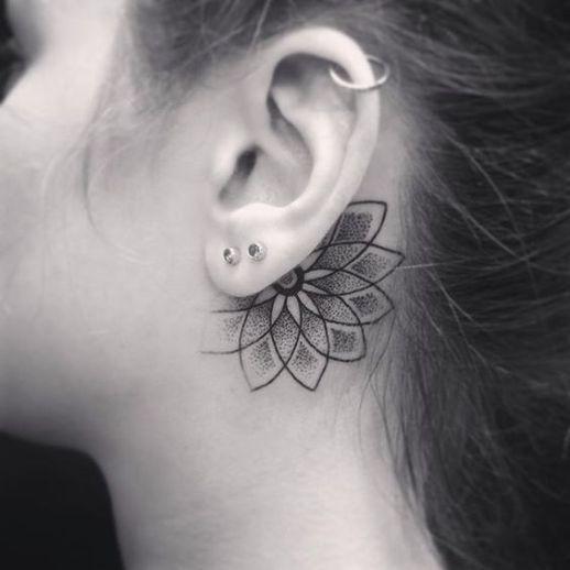 behind the ear lotus flower mandala tattoo