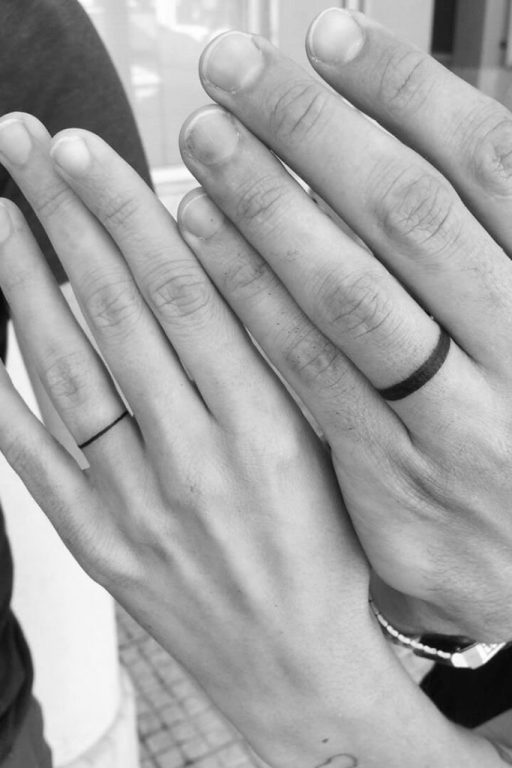 wedding ring tattoo for couples simple