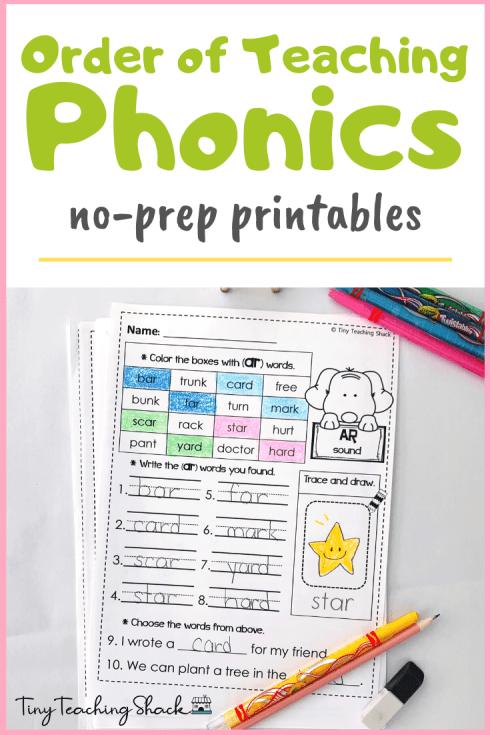 order of teaching phonics no prep printables