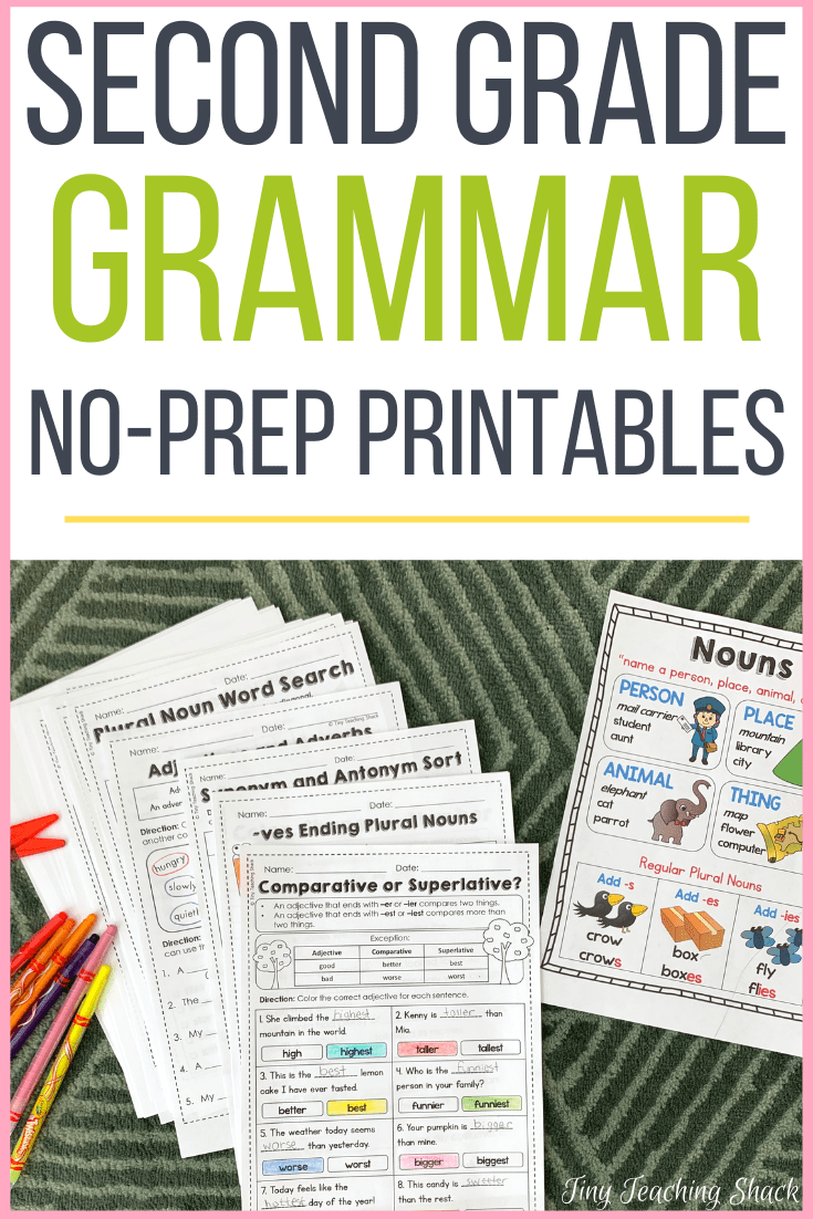 medium resolution of Second Grade Grammar Practice Sheets - Tiny Teaching Shack