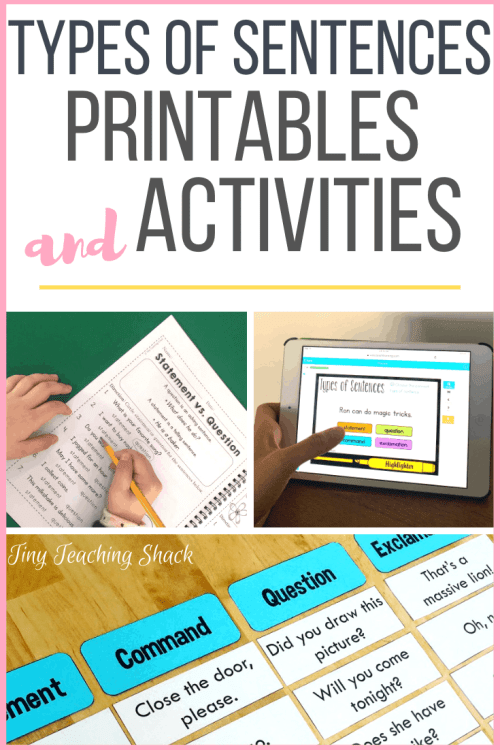 types of sentences printables and activities for first and second grade