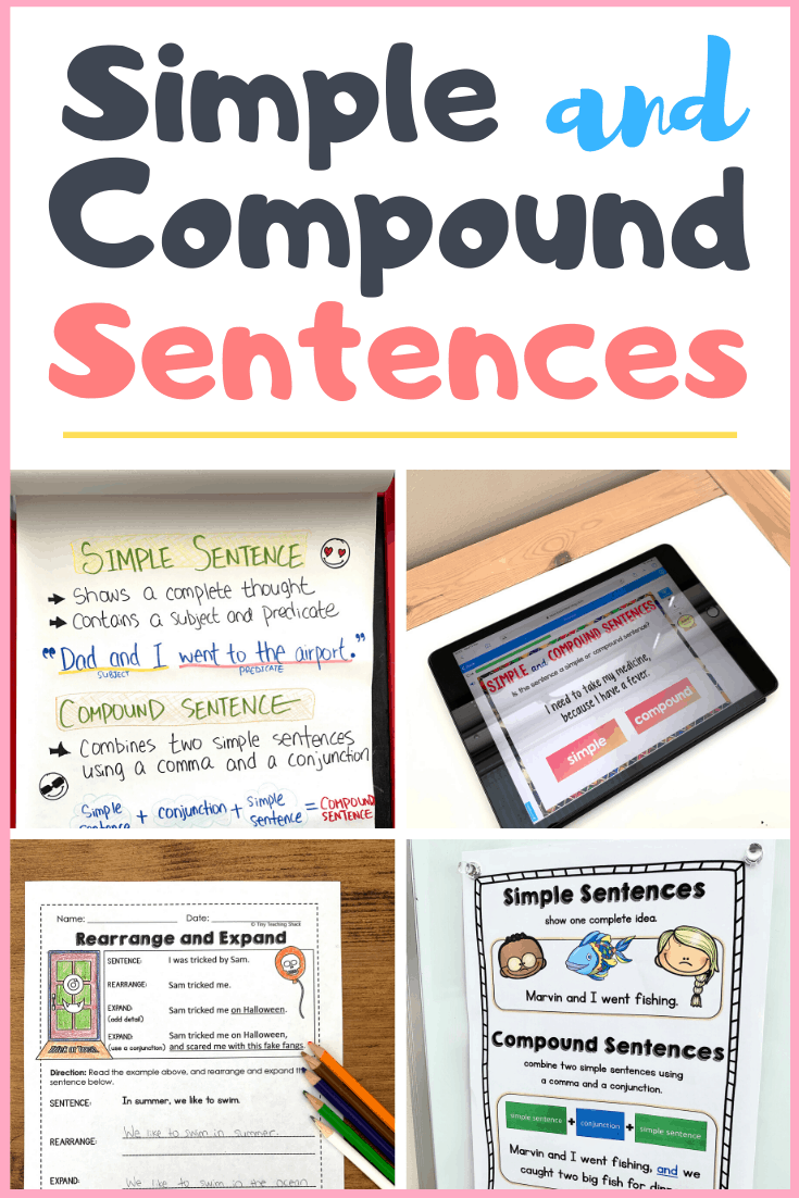 hight resolution of Simple and Compound Sentences - Tiny Teaching Shack