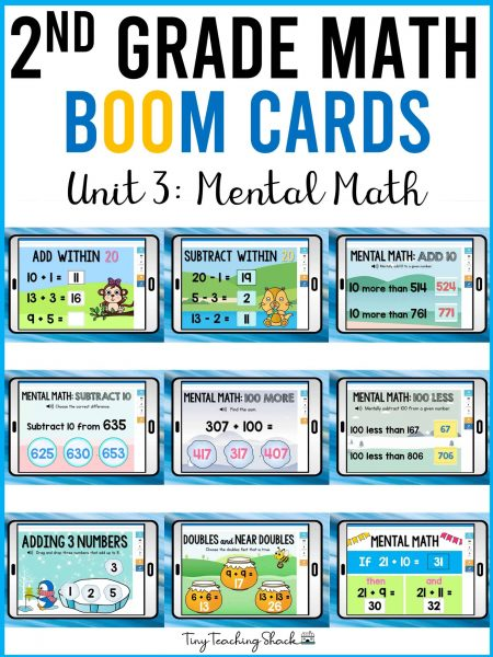second grade math boom cards mental math