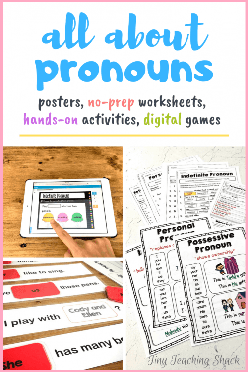pronoun worksheets, activities, boom cards, posters