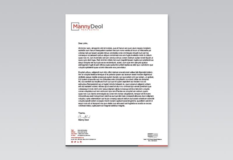 Manny Deol Letterhead