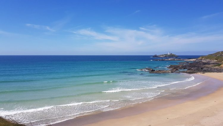 St Ives Bay, looking back to Godrevy lighthouse