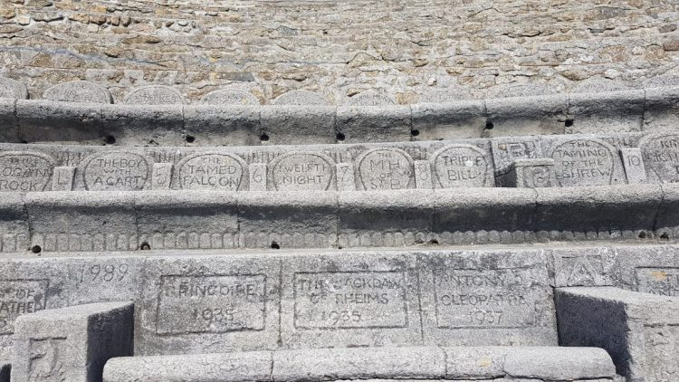 Minack theatre, works inscribed into the seating