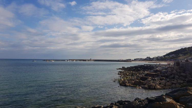 Looking back to Lyme Regis beach