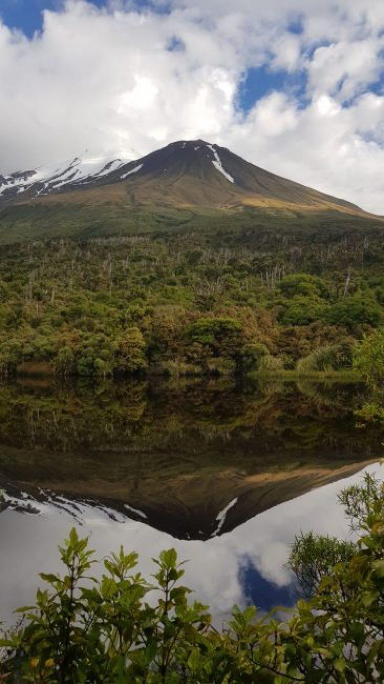Mount Taranaki from Lake Dive