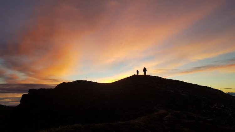 Epic sunrise from Slaty to Old Man hut