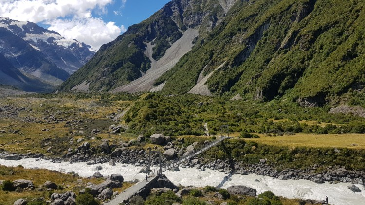 The first swingbridge on the Hooker Valley Track